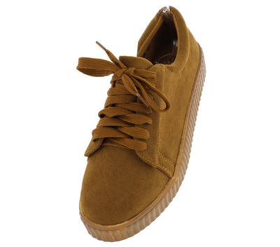 Wl101 Camel Lace Up Low Platform Sneaker Flat - Wholesale Fashion Shoes