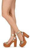 Woodland03 Gold Women's Heel - Wholesale Fashion Shoes