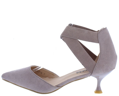 Izara1 Grey Pointed Toe Stretch Cross Strap Kitten Heel - Wholesale Fashion Shoes