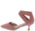 Izara1 Pink Pointed Toe Stretch Cross Strap Kitten Heel