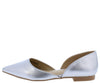 Emory05 Silver Pointed Toe Slide On Dorsay Flat - Wholesale Fashion Shoes