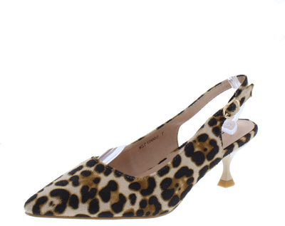 Kalila3 Leopard Beige Pointed Toe Slingback Kitten Heel - Wholesale Fashion Shoes
