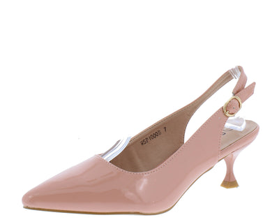 Kalila3 Pink Pointed Toe Slingback Kitten Heel - Wholesale Fashion Shoes