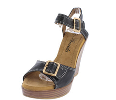 WALLIE01 BLACK OPEN TOE SLINGBACK CUSHIONED STACKED WEDGE - Wholesale Fashion Shoes