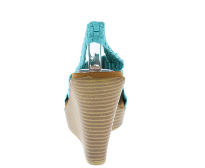 Wallie04 Blue Elastic Woven Wedge - Wholesale Fashion Shoes