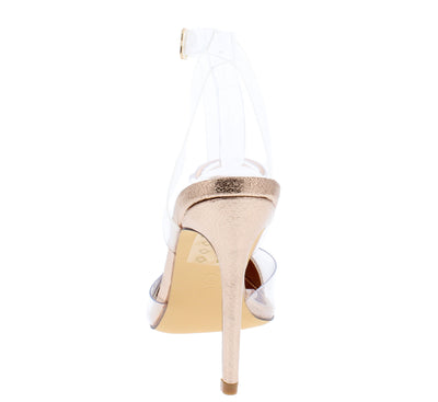 Warhol Rose Gold Rhinestone Pointed Toe Lucite Ankle Strap Heel - Wholesale Fashion Shoes