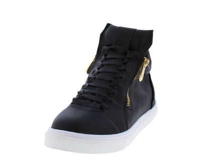 Luna332 Black Lace Up Gold Zipper Sneaker Flat - Wholesale Fashion Shoes