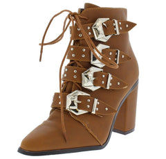 WAYNE1 TAN POINTED TOE LACE UP MULTI BUCKLE ANKLE BOOT - Wholesale Fashion Shoes