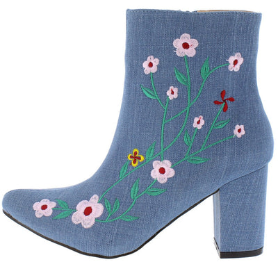 Naomi030 Denim Floral Embroidered Chunky Heel Ankle Boot - Wholesale Fashion Shoes