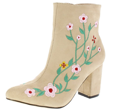 Naomi030 Nude Floral Embroidered Chunky Heel Ankle Boot - Wholesale Fashion Shoes