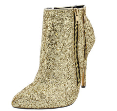 JADE01 GOLD METALLIC GLITTER POINTED TOE DUAL ZIPPER ANKLE BOOT - Wholesale Fashion Shoes - 2