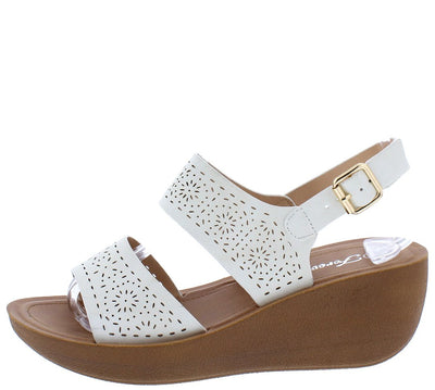 Wedge20 White Laser Cut Open Toe Slingback Wedge - Wholesale Fashion Shoes