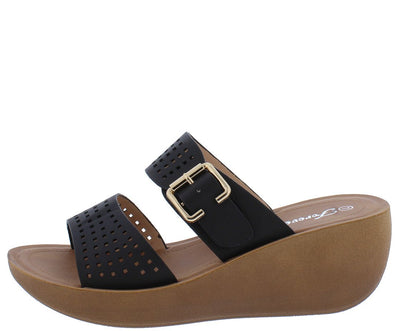 Wedge21 Black Open Toe Laser Cut Buckle Strap Mule Wedge - Wholesale Fashion Shoes
