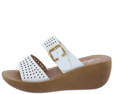 Wedge21 White Open Toe Laser Cut Buckle Strap Mule Wedge - Wholesale Fashion Shoes