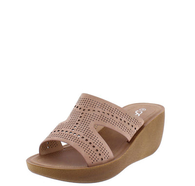 Wedge22 Dusty Pink Open Toe Cut Out Laser Cut Slide Wedge - Wholesale Fashion Shoes