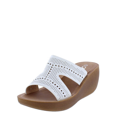 Wedge22 White Open Toe Cut Out Laser Cut Slide Wedge - Wholesale Fashion Shoes