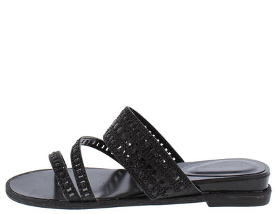 Welch02 Black Sparkle Strappy Open Toe Slide Sandal - Wholesale Fashion Shoes