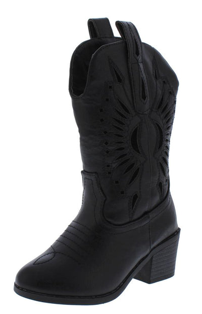 Western11k Black Laser Cut Pull Tab Western Kids Boot - Wholesale Fashion Shoes