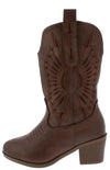 Western11k Brown Laser Cut Pull Tab Western Kids Boot - Wholesale Fashion Shoes