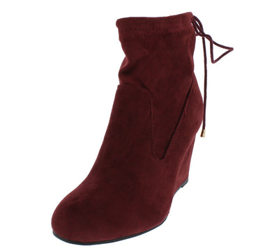 Wheel8 Wine Stretch Lace Up Closure Wedge Ankle Boot - Wholesale Fashion Shoes