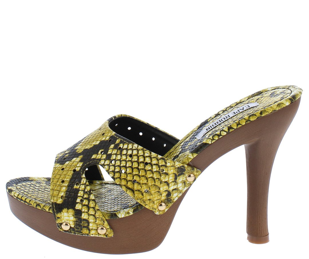 8768c53c9f2 Wild Thing Yellow Snake Cut Out Open Toe Low Platform Heel