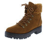Wildone21 Tobacco Lace Up Lug Sole Hiking Boot - Wholesale Fashion Shoes