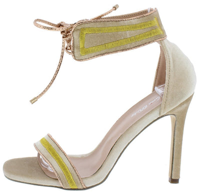 Willa02 Beige Two Tone Open Toe Lace Up Ankle Heel - Wholesale Fashion Shoes