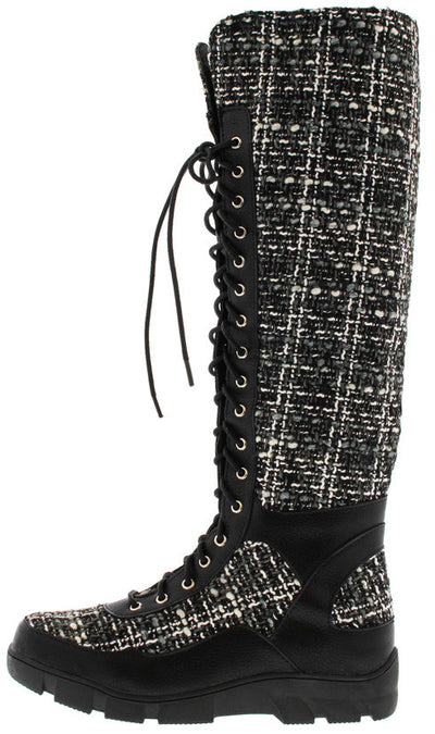 William15 Black Tweed Lace Up Knee High Boot - Wholesale Fashion Shoes