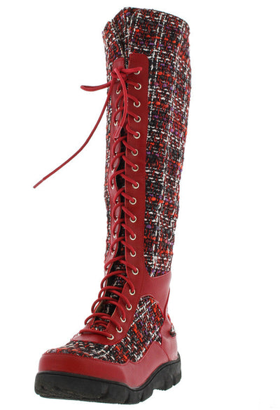 William15 Red Tweed Lace Up Knee High Boot - Wholesale Fashion Shoes