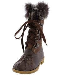 LOTTY06K BROWN DUAL TONE FUR LINED LACE UP KIDS BOOT - Wholesale Fashion Shoes - 2