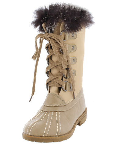 Lotty06k Nude Dual Tone Fur Lined Lace Up Kids Boot - Wholesale Fashion Shoes