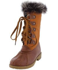 LOTTY06K TAN DUAL TONE FUR LINED LACE UP KIDS BOOT - Wholesale Fashion Shoes - 2