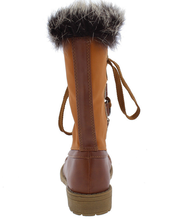 43fe0962a Lotty06k Tan Dual Tone Fur Lined Lace Up Kids Boot - Only  10.88 ...