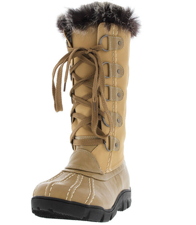 Ariana279 Nude Faux Fur Trim Snow Boot - Wholesale Fashion Shoes