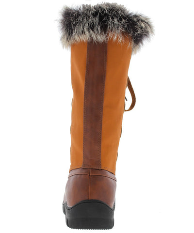 Ariana279 Tan Faux Fur Trim Snow Boot - Wholesale Fashion Shoes