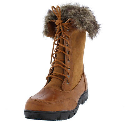 Shay8 Tan Dual Tone Fur Lined Fold Over Lace Up Boot - Wholesale Fashion Shoes