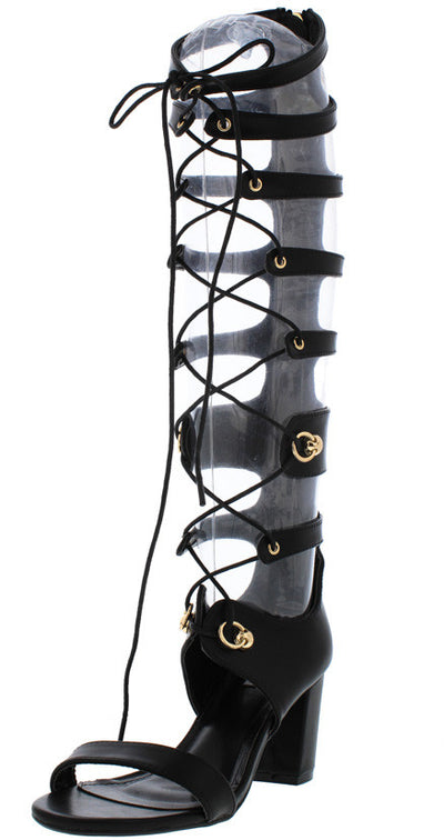Wine1 Black Block Heel Lace Up Gladiator Boot - Wholesale Fashion Shoes