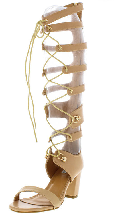 Wine1 Nude Block Heel Lace Up Gladiator Boot - Wholesale Fashion Shoes