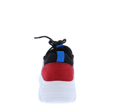Womi Red Multi Round Toe Lace Up Tapered Sneaker Flat - Wholesale Fashion Shoes