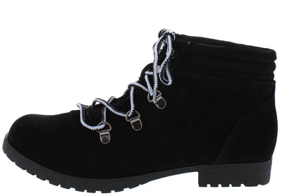 Wyatte78 Black Suede Pu Lace Up Lug Sole Ankle Boot - Wholesale Fashion Shoes