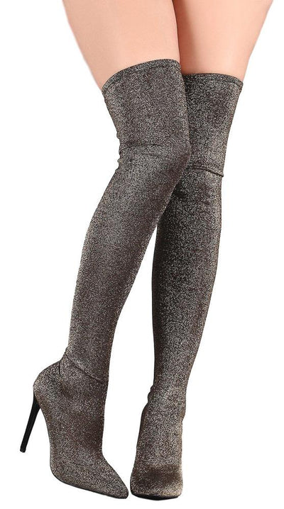 207f8b416cd4 Kinsley005 Gold Glitter Knit Pull on Thigh High Boot - Wholesale Fashion  Shoes