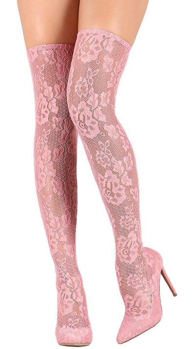 Eliza249 Pink Lace Pointed Toe Thigh High Sock Fit Boot - Wholesale Fashion Shoes