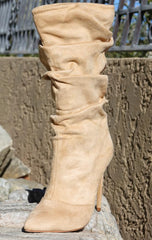 LEILANI123 NUDE POINTED TOE MID CALF STILETTO BOOT - Wholesale Fashion Shoes