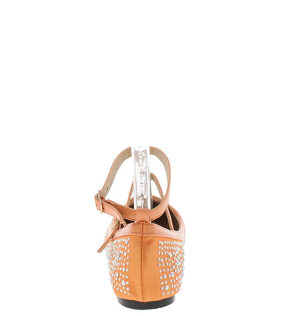 Xena1 Peach Rhinestone Caged T-strap Flat - Wholesale Fashion Shoes