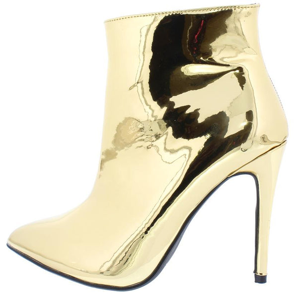 71ff72c3204 Aria030 Gold Metallic Pointed Toe Stiletto Ankle Boot