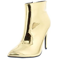 ARIA030 GOLD METALLIC POINTED TOE STILETTO ANKLE BOOT - Wholesale Fashion Shoes