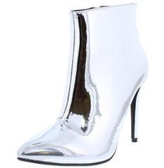 ARIA030 SILVER METALLIC POINTED TOE STILETTO ANKLE BOOT - Wholesale Fashion Shoes