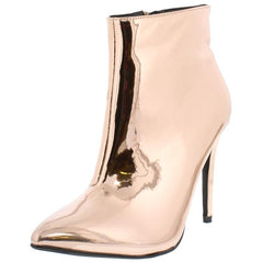 ARIA030 ROSE GOLD METALLIC POINTED TOE STILETTO ANKLE BOOT - Wholesale Fashion Shoes