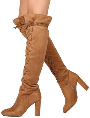 58d43d95b30d York02 Camel Suede Pu Relaxed Lace Up Over the Knee Boot - Wholesale  Fashion Shoes