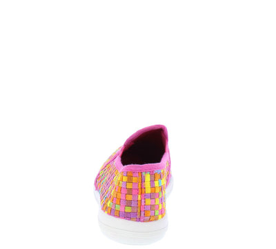 Yaffa01 Fuchsia Multi Basket Weave Slip on Sneaker Flat - Wholesale Fashion Shoes